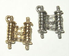 Jewish Torah scroll Pewter Charm with either gold or antique pewter finish