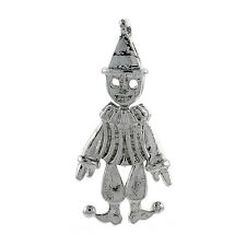"Sterling Silver Movable Clown Pendant / Charm, 18"" Italian Box Chain"