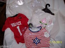 ASSORTED DOG CLOTHES-WEDDING VEIL,NC STATE SHIRT,WATERMELON OR SAILOR DRESS