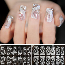 New Flower 3D Lace Nail Art Decoration Adhesive Nail Stickers Decals Full Wraps