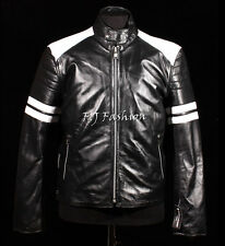 Fight Club Mayhem Black Mens Biker Style Fashion Movie Real Sheep Leather Jacket