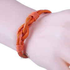 NEW Vogue Men Women Orange Infinity Knot Leather Bracelet Cord Rope CAGM090OR