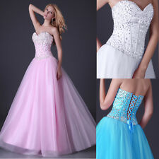 Stunning Diamond Tulle Corset Evening Formal Ball gown Party Prom Dresses Long