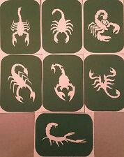 7 x Scorpion-2 Stencils and Stickers Glitter Tattoo Body art Glimmer Small,Large
