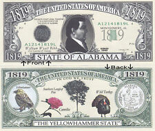 1819 U.S.A. State of Alabama AL Novelty Bill Notes 1 5 25 50 100 500 or 1000