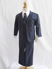 Infant Toddler Teen Navy blue boy wedding party formal suit long tie all size