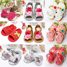 Baby Girls Toddler Kids Summer Bowknot Soft Flat Sandals Dots Flowers Crib Shoes