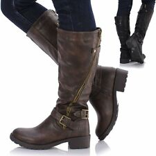 Ladies Women Leather Style Knee High Chunky Block Heel Flat Biker Zip Boots Shoe