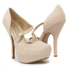 Beige Cut Out Floral Crochet Mary Jane D'Orsay Platform Stiletto High Heel Pump