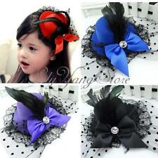 Mini Top Fascinator Goth Black Feather Lace Bow Fancy Dress Party Hair Clip Hat