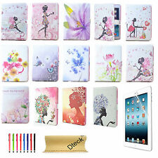 Butterfly Girl Flower Leather Smart Case Flip Stand Cover F iPad Mini iPad Air 2