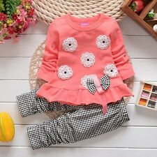 "2pcs kids Girls tops+pants Set Outfits spring autumn clothing set ""flower"" 0-36M"