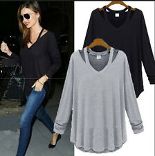 Women Solid Cotton V Neck Long Sleeve Shirt Casual Loose T-Shirt Tee Tops Blouse