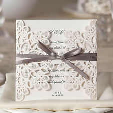 Floral Cut Pearl Ribbon Wedding Invitations Free Envelopes & Seals Kit WI1080