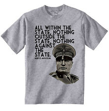 BENITO MUSSOLINI QUOTE ITALY WWII- NEW AMAZING GRAPHIC GREY TSHIRT- S-M-L-XL-XXL