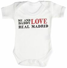 TRS - Me & Daddy Text Love Real Madrid Baby Bodysuit / Babygrow 100% Cotton