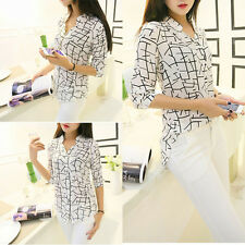 Fashion New 2014 Womens Chiffon 3/4 Sleeve T-Shirt OL Lady Blouse Tops S M L XL