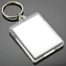 10 Clear Acrylic Plastic BLANK KEYRINGS 45 x 35 mm Insert - PASSPORT PHOTO SIZE