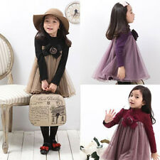 New Fashion Kids Toddler Clothes Girls Long Sleeves Princess Tulle Dress Sz2-7Y