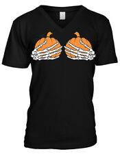 Skeleton Hands Holding Pumpkins Halloween Boobs Sexual Funny Mens V-neck T-shirt
