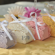 Wholesale Rose Candy Boxes Wedding Favor Party Gift Boxes With White Ribbons