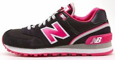 New Balance classic retro running black & pink trainers WL 574 SJB