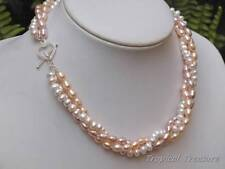 Multicolour 3 Strand Freshwater Pearl Necklace - 925 SOLID Silver clasp