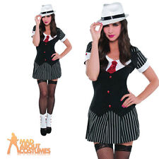 Sexy Adult Gangster Lady Costume Ladies Dressed To Kill Mob Fancy Dress Outfit