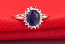 Wedding Ring 1.5 Carat Blue Sapphire & Sona Diamonds Silver Engagement Ring D14