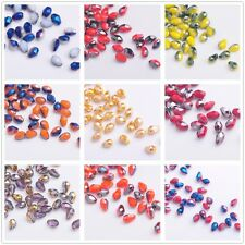 100pcs 5X3mm Faceted Teardrop Glass Crystal Charms Loose Spacer Beads Findings