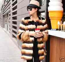 Round collar Gradient stripes Faux fox Fur Long coat jacket Cardigan Trench coat
