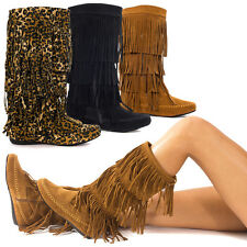 Womens Faux Suede Round Toe Mid Calf 4 Layer Fringe Tassel Moccasin Flat Boot US