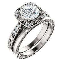 1ct Forever Brilliant Moissanite Solid 14K White Gold Engagement Ring Set