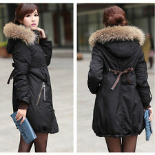 New womens Coat Trench Duck Down Fur hooded warm Winter jacket Plus Size S-6XL