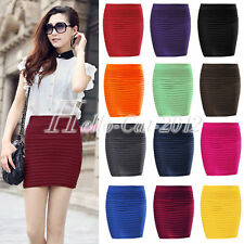 Sexy a line Women Slim Seamless Stretch Tiered Ribbed Straight Pencil Skirt HOT