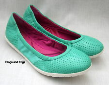 NEW CLARKS ILLYA SHINE REALLY LIGHTWEIGHT GREEN LEATHER / MESH SHOES PUMPS