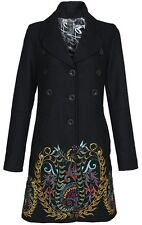 Wool Desigual BLACK runway Coat Dress EMBROIDERY jacket blazer steampunk BOHO