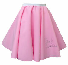 Rock And Roll Pink Women Skirt 1950s Grease Jive Fancy Dress Costume