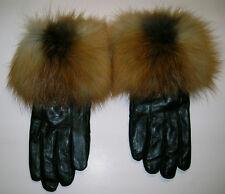 WOMENS  BLACK LAMBSKIN LEATHER GLOVES WITH NATURAL RED FOX TRIM