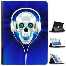 Raving Skull With Headphones In Blue Folio Leather Case For Samsung TAB 3