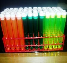 60 x Neon plastic Test tubes mixed with tops and tray, 20ml 150 mm x 17 mm Ø. Ne