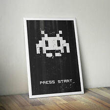 Space Invaders Vintage Distressed Pixelated Alien - Classic Video Game Poster