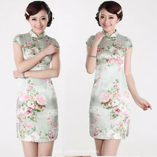 Women Vintage Chinese Cheongsam Qipao Ball Gown Floral MIni Dress Multi Pattern