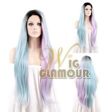 "Long Wavy 20""-28"" Black Roots with Blue Pink Lace Front Synthetic Wig"