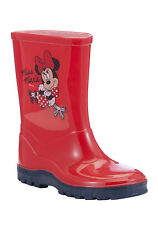 New Girls Red Minnie Mouse Wellies Wellington Rain Boots Size Infant UK 10 - 12