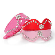 New Bling Bowknot Pet Dog Cat Collar Rhinestone Flower Puppy Leather Necklace S