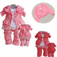 3PCS Baby Girl Winter Long Sleeve Coat Outwear+T-shirt+Pants Clothes Outfit Sets