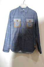 COMME DES GARCONS JUNYA WATANABE QUILTED AND CUT SEW CHAMBRAY SHIRT MADE JAPAN