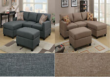 3 pc Microfiber Sofa Couch W Ottoman Small Modern Contemporary Sectional Couch