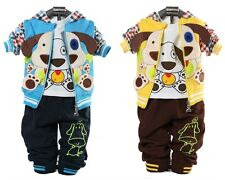 3 pcs baby kids boys tops &T shirt & pants set boys autumn suit outfits doggie